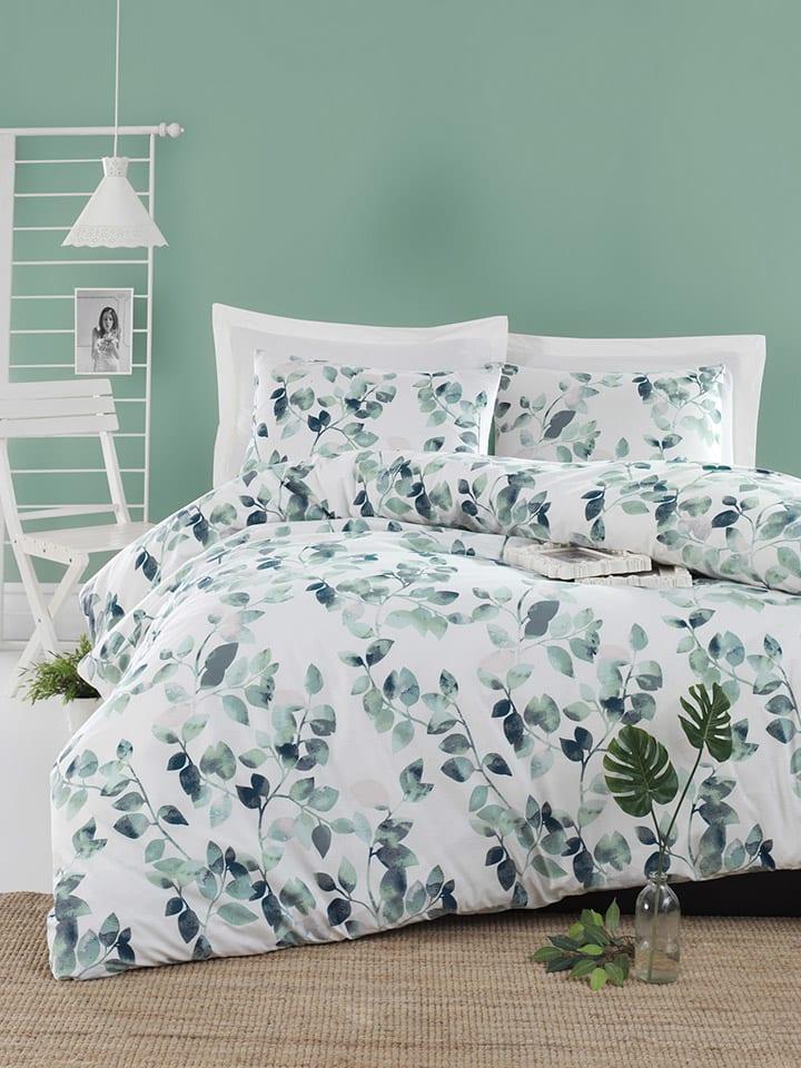 """Colorful Cotton Renforcé beddengoedset """"Sabine"""" wit/groen"""