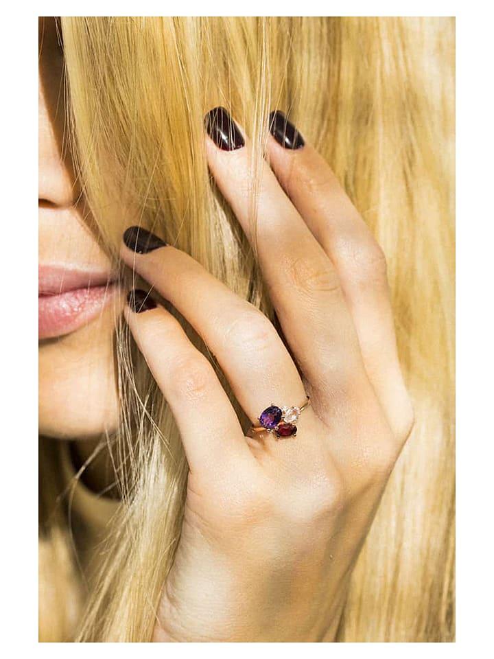 """Złoty pierścionek """"Barbara"""" z diamentami i kamieniami szlachetnymi"""