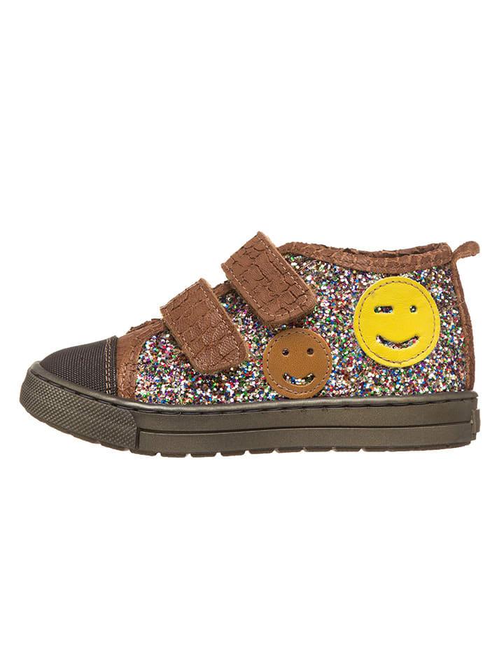 Billowy Skórzane sneakersy w kolorze jasnobrązowym ze wzorem