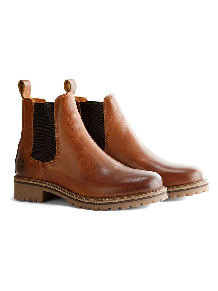 """TRAVELIN' Leder-Chelsea-Boots """"Skjern"""" in Cognac"""