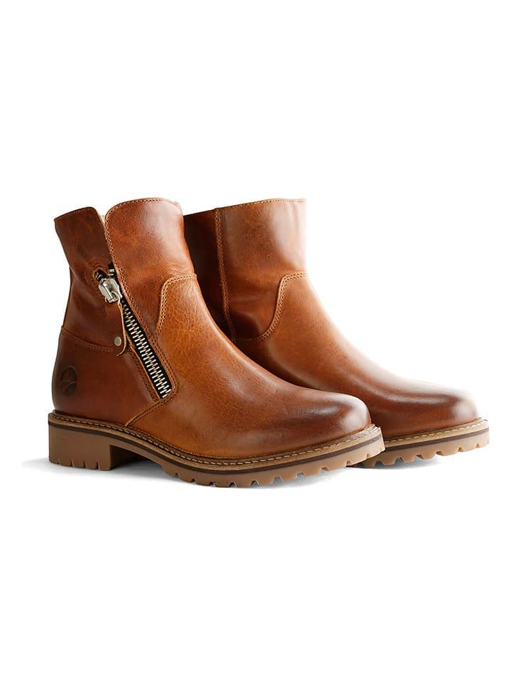 """TRAVELIN' Leren boots """"Vartae"""" cognackleurig"""