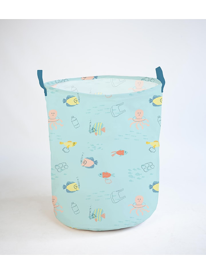 "Little & Cute Aufbewahrungskorb ""Colourful Fishes"" in Hellblau/ Bunt - Ø 40 cm"