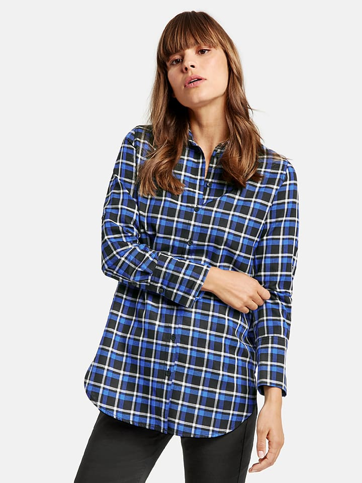 TAIFUN Bluzka w kolorze niebiesko-czarnym
