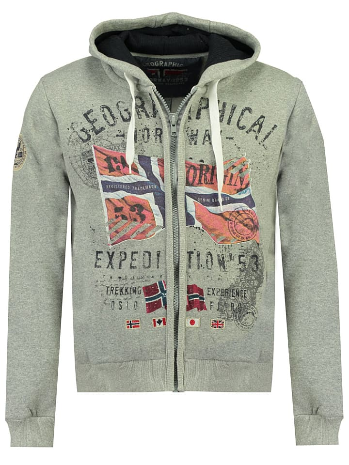 """Geographical Norway Sweatvest """"Getchup"""" lichtgrijs"""