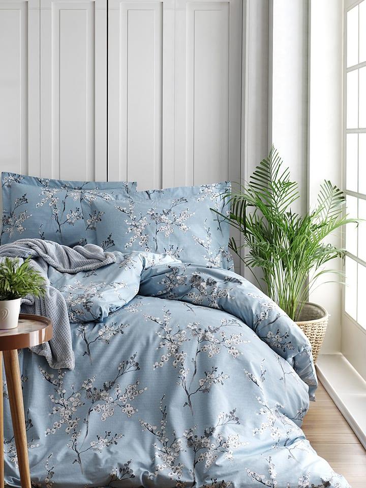 "Colorful Cotton Renforcé beddengoedset ""Chicory"" blauw"