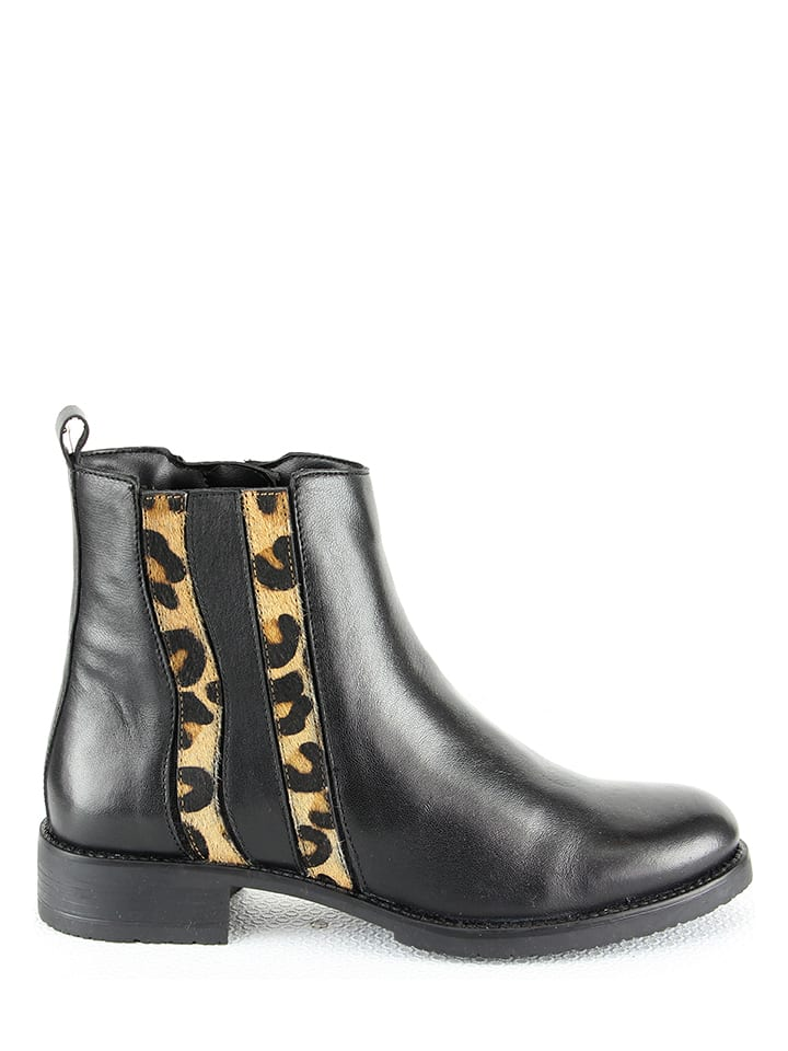 """Biscote Skórzane botki """"Dorothee"""" w kolorze brązowo-czarnym"""
