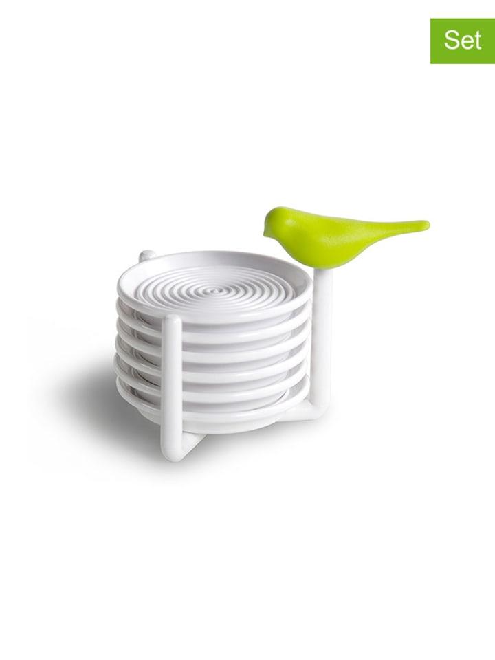 Qualy Design 7-częściowy zestaw podkładek w kolorze biało-zielonym