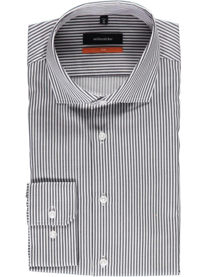 Seidensticker Koszula - Slim fit - w kolorze biało-szarym