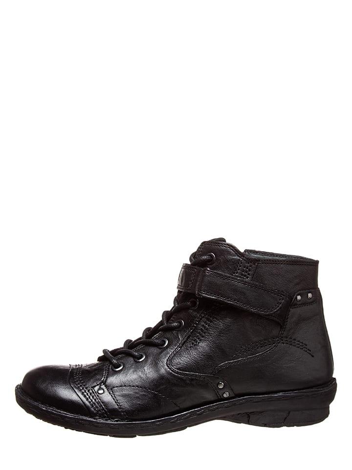 Leder Schnürschuhe in Schwarz