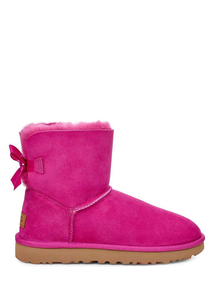 """UGG Skórzane botki """"Mini Bailey Bow II"""" w kolorze różowym"""