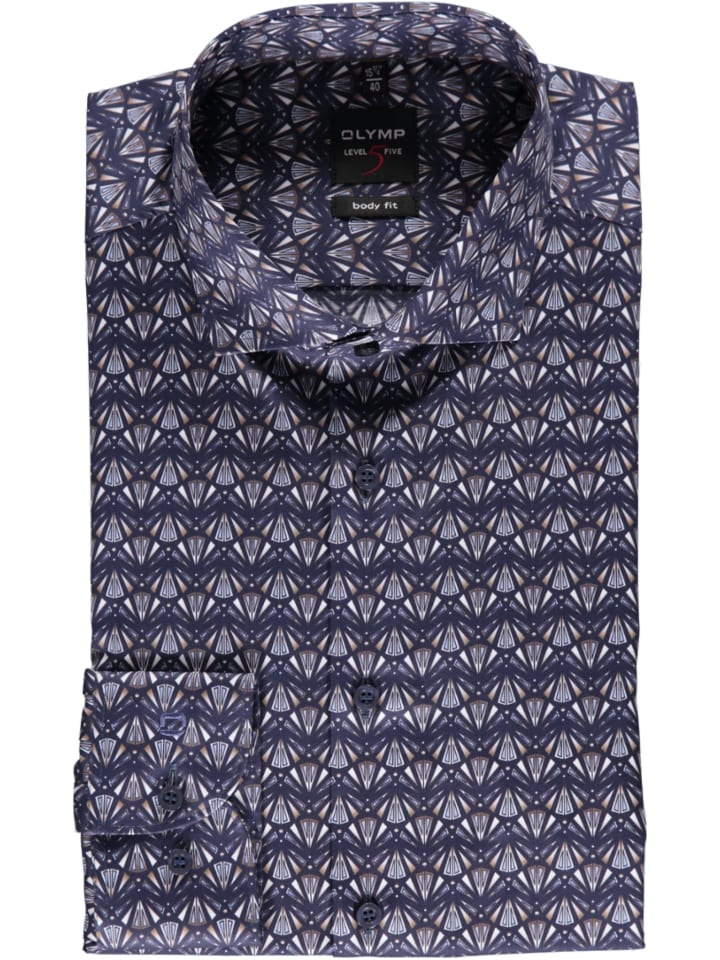 """OLYMP Blouse """"Level 5"""" - body fit - donkerblauw/bruin"""
