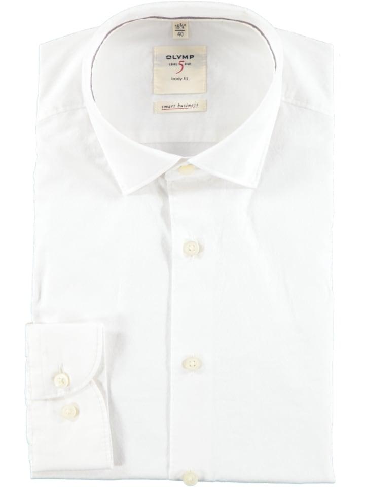 """OLYMP Koszula """"Level 5 Smart Business"""" - Body fit - w kolorze białym"""
