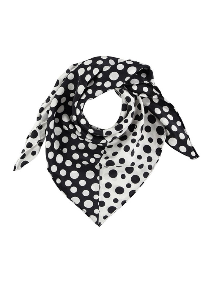 Made in Silk Jedwabna chusta w kolorze biało-czarnym ze wzorem - (D)86 x (S)86 cm