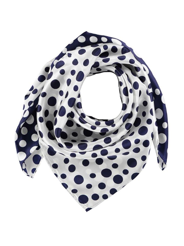 Made in Silk Jedwabna chusta w kolorze biało-granatowym ze wzorem - (D)86 x (S)86 cm
