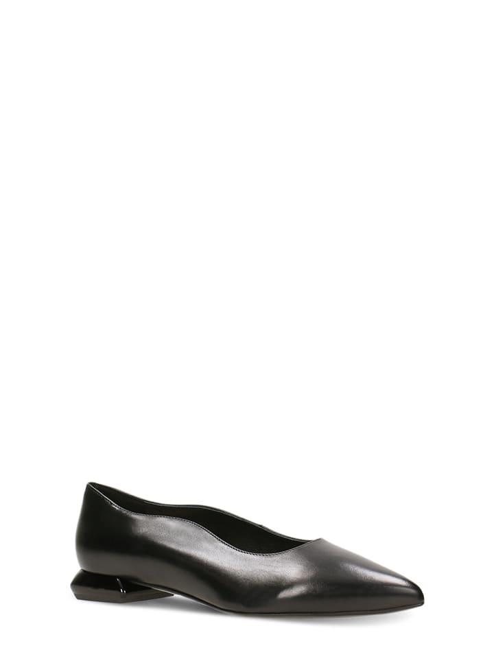 Gino Rossi Leren ballerina's zwart