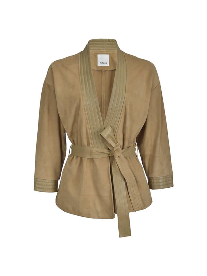 Pinko Skórzana kurtka w kolorze brązowym