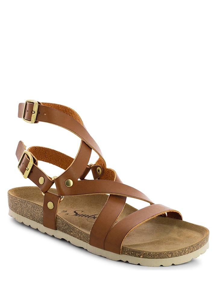 """Sunbay Skórzane sandały """"Elorza"""" w kolorze jasnobrązowym"""