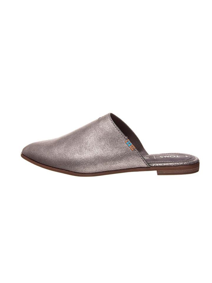 """TOMS Leren slippers """"Jutti Mule"""" zilverkleurig"""