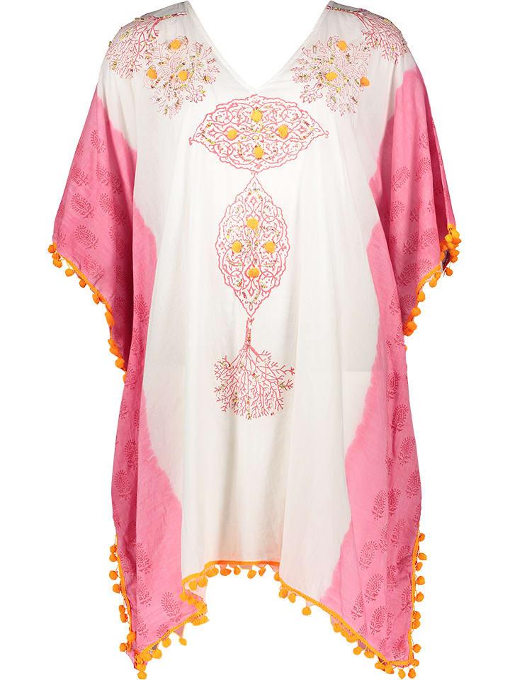 Kiss & Love Tunika w kolorze biało-różowym