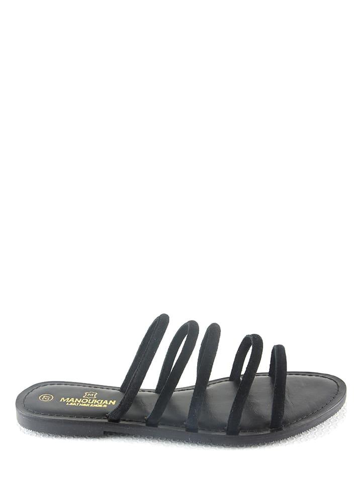 "Manoukian shoes Leren slippers ""Ida"" zwart"