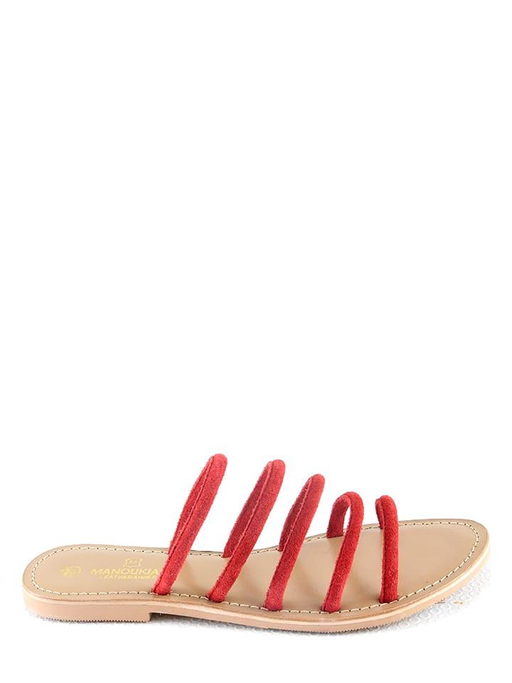 "Manoukian shoes Leren slippers ""Ida"" rood"