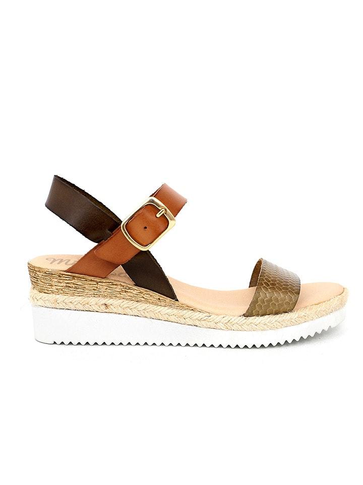 Mia Loé Skórzane sandały w kolorze brązowo-karmelowo-oliwkowym na koturnie