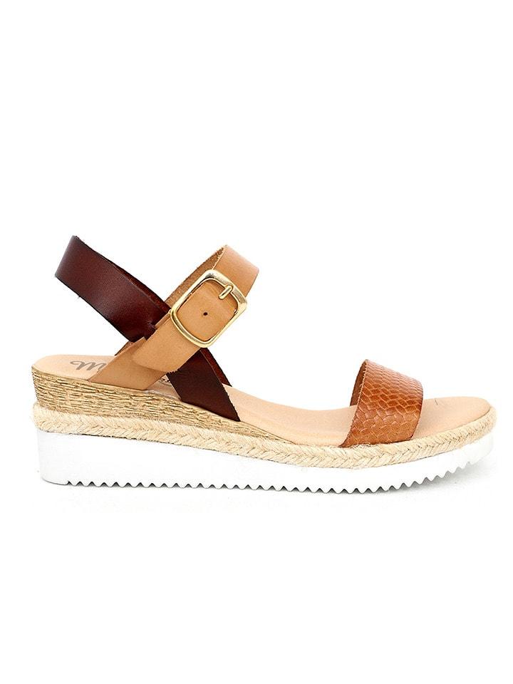 Mia Loé Skórzane sandały w kolorze brązowo-karmelowym na koturnie