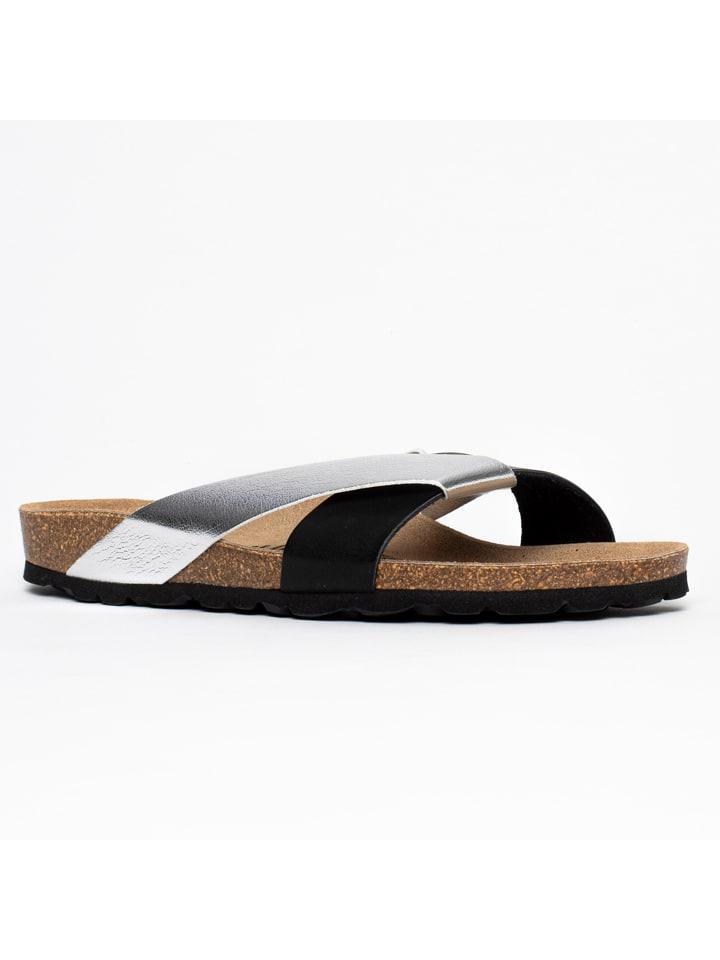 """Blue Bay Leren slippers """"Otago"""" zwart/zilverkleurig"""