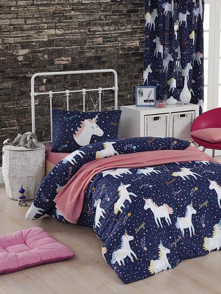 "Colourful Cotton Bettwäsche-Set ""Magic Unicorn"" in Dunkelblau/ Bunt"