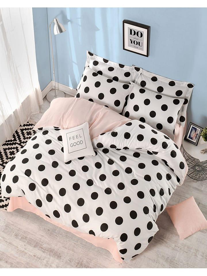 """Colourful Cotton Komplet pościeli """"Mixpuan"""" w kolorze biało-czarno-jasnoróżowym"""