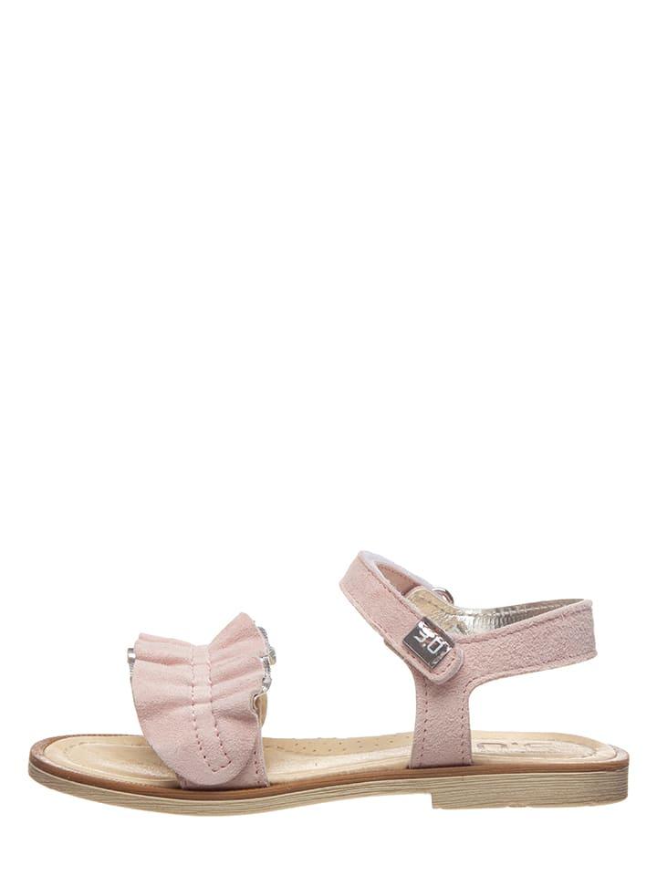 TREVIRGOLAZERO Skórzane sandały w kolorze jasnoróżowym