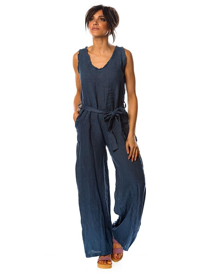 """100% Linen Leinen-Jumpsuit """"Melisse"""" in Blau"""
