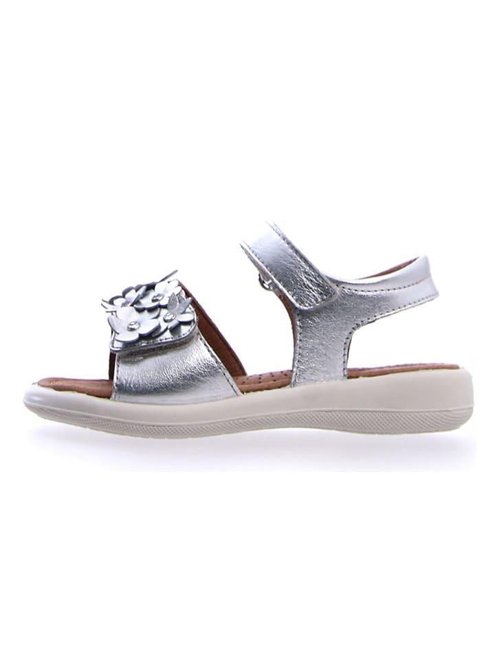 Leder-Sandalen in Silber