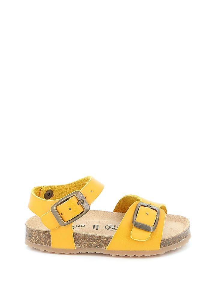 Leder-Sandalen in Gelb