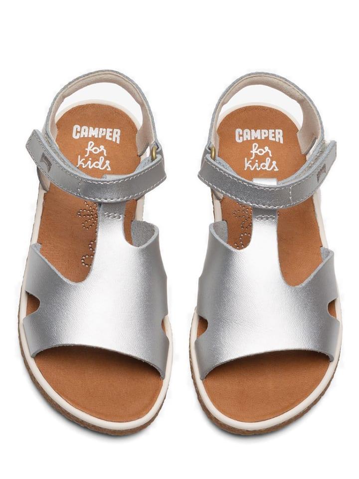 """Camper Leren sandalen """"Miko"""" zilverkleurig"""