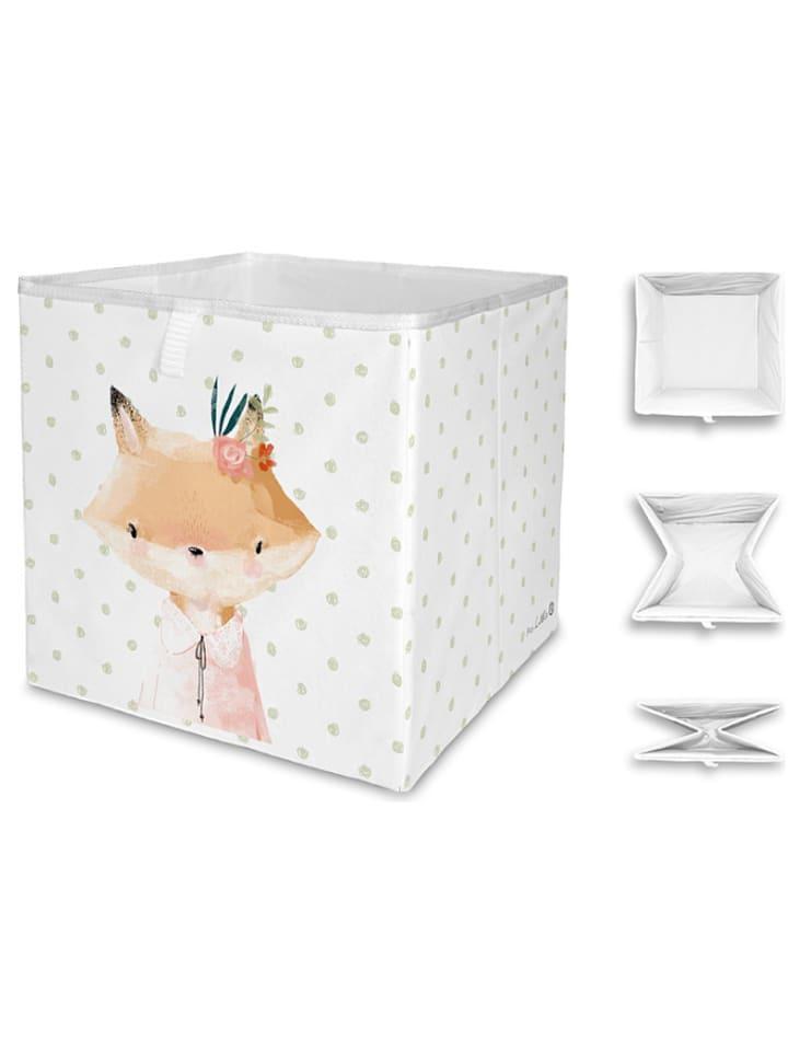 "Mr Little Fox Vouwbox ""Girl fox"" wit/lichtroze - (B)32 x (H)32 x (D)32 cm"