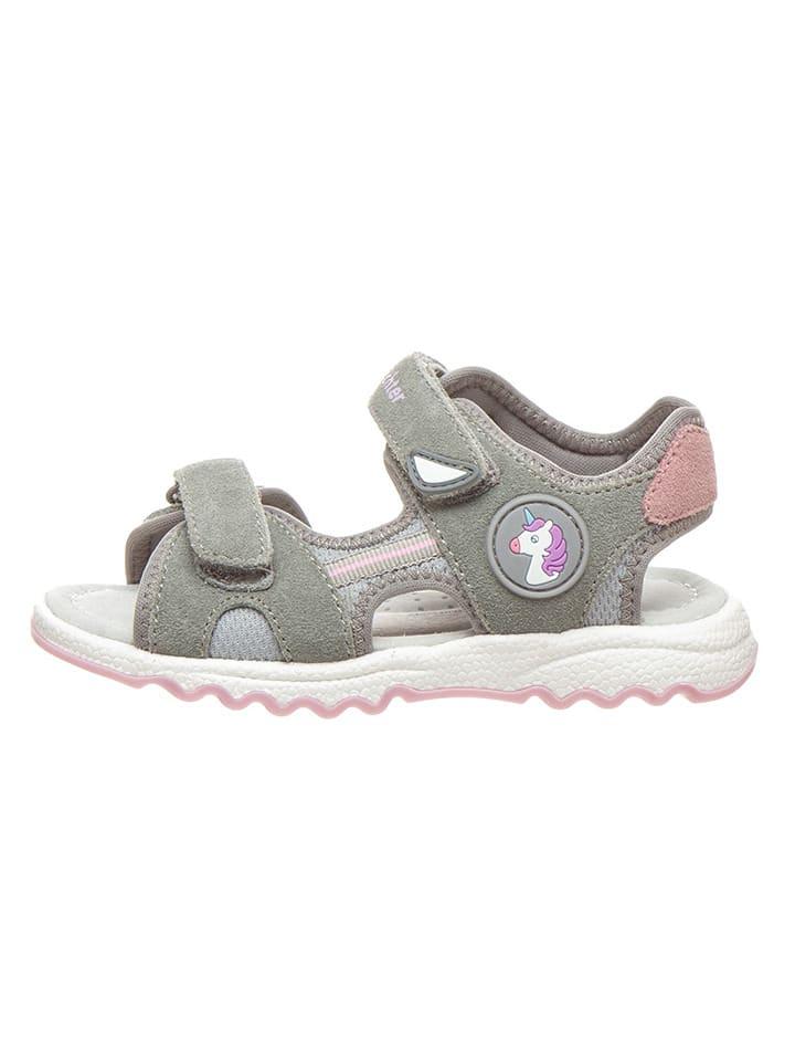 Richter Shoes Leder-Sandalen in Grau/ Rosa