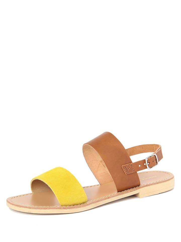 Donna Toscana Leder-Sandalen in Gelb/ Hellbraun
