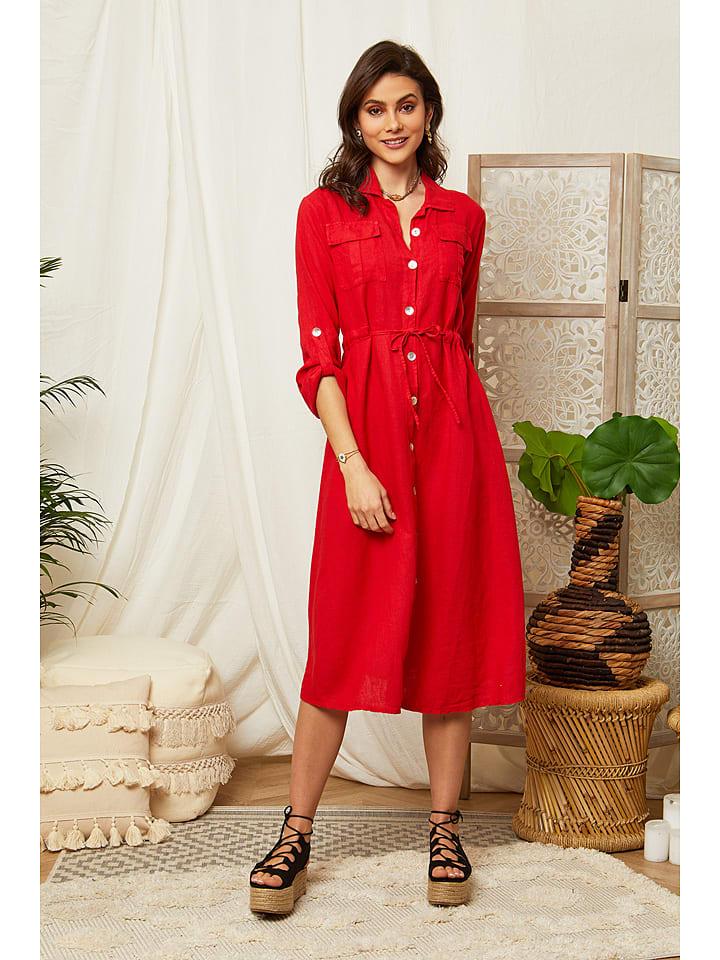 Lin Passion Linnen jurk rood