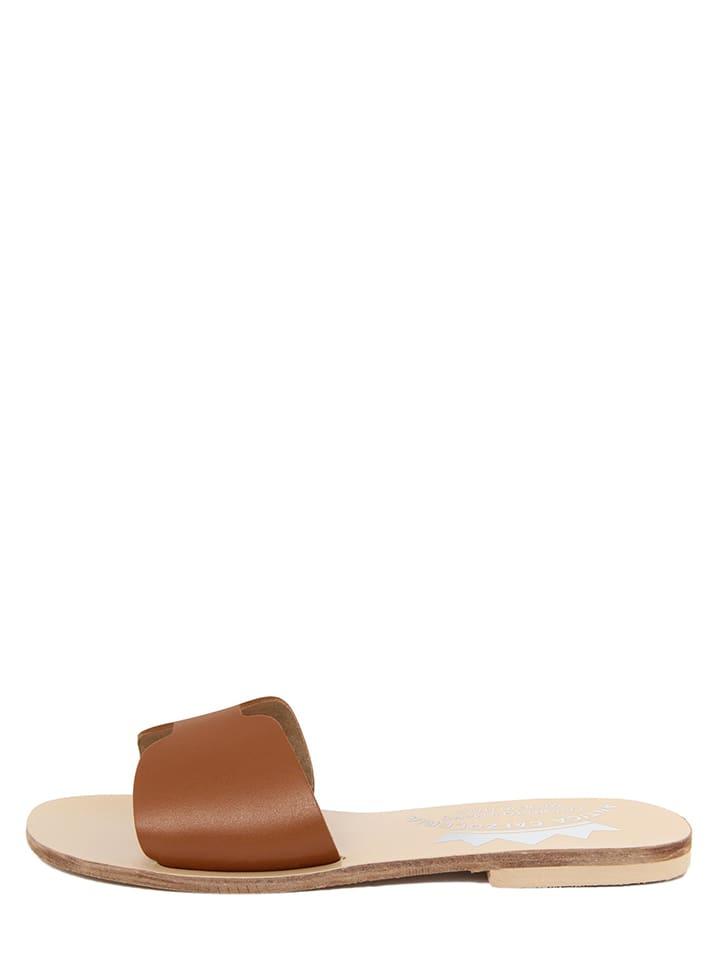 ANTICA CALZOLERIA Leren slippers bruin