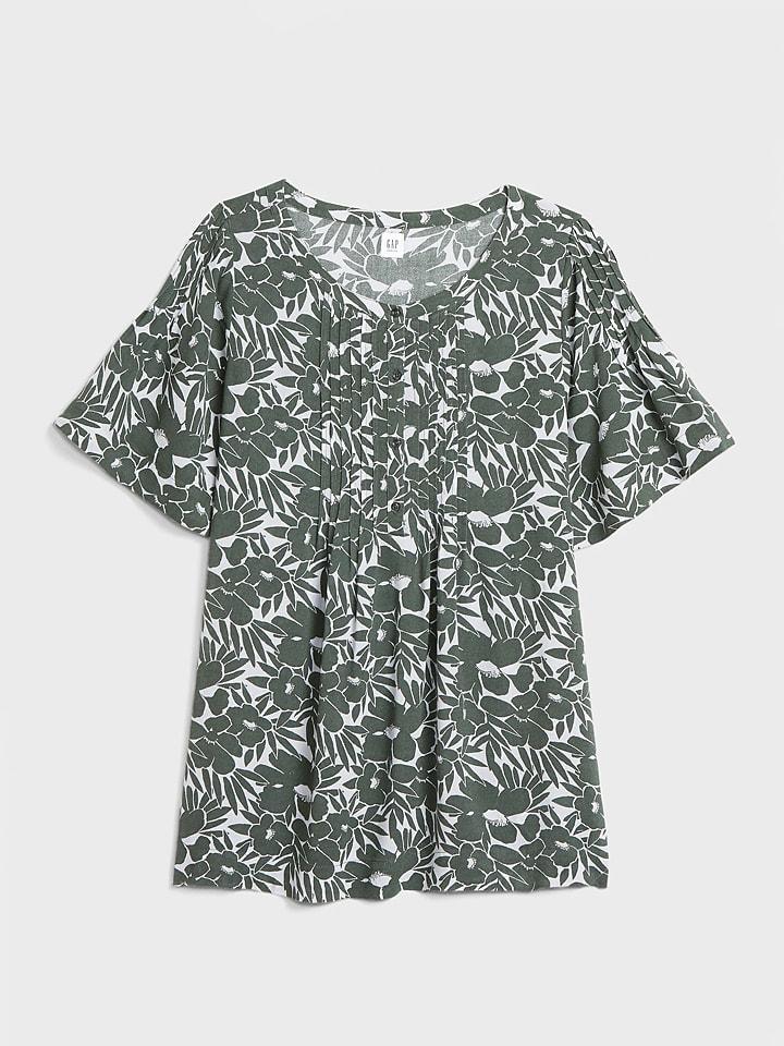 GAP Koszulka ciążowa w kolorze oliwkowo-białym