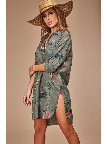 Le Monde du Lin Lniana sukienka w kolorze khaki