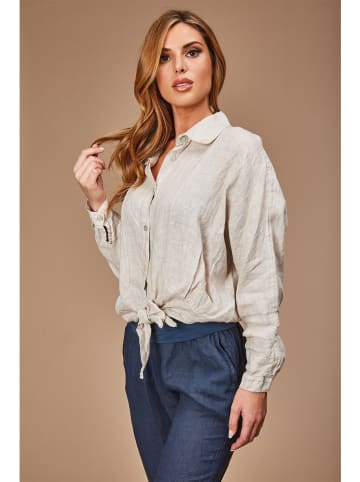 100% LIN Linnen blouse beige