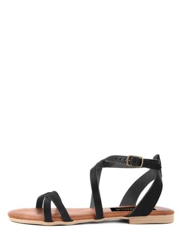 Fashion Attitude Leder-Sandalen in Schwarz