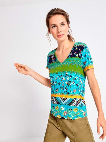 """Surkana Koszulka """"Alessia"""" w kolorze turkusowym ze wzorem"""