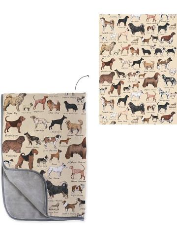 """Really Nice Things Dwustronny koc """"Dog Types"""" w kolorze beżowo-brązowym - 70 x 130 cm"""