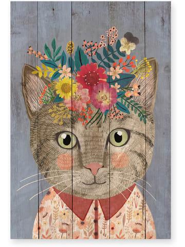 """Really Nice Things Druk na drewnie """"Floral Cat"""" - 40 x 60 cm"""