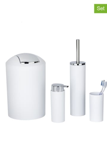 """Wenko 4-częściowy zestaw łazienkowy """"Calvo"""" w kolorze srebrno-białym"""