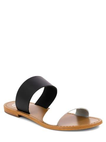 """Goldensun Leren slippers """"Mission"""" wit/zwart"""