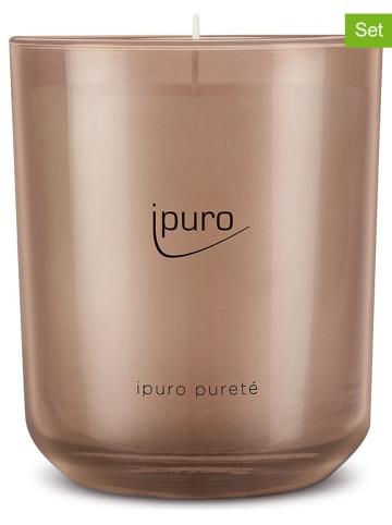 """Ipuro 2-delige set: geurkaarsen """"Classic pureté"""" lichtbruin - 2x 270 g"""